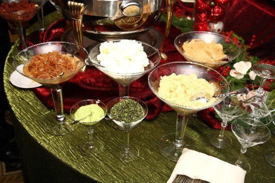 serving of mashed potatoes is served in martini glasses for each ...